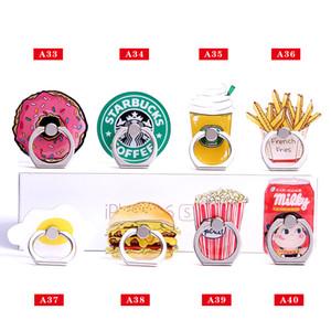 Evrensel 360 Derece Gıda Donuts Hamburger Samsung Huawei Cep Telefonları Için Parmak Yüzük Tutucu Telefon Standı