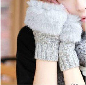 Wholesale-popular  design faux fur winter gloves twisted weaving Knitted 15cm fingerless gloves women 6 colors women gloves mittens