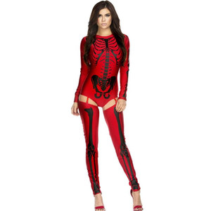 Al por mayor-Blanco rojo Bad To The Bone Halloween o-neck Traje de Esqueleto sexy Juegos de rol Kits de disfraces señoras para el club nocturno 8948