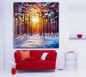 팔레트 나이프 오일 페인팅 Winter Snow Forest Landscape Picture Canvas for Living 오피스 호텔 침실 벽 장식
