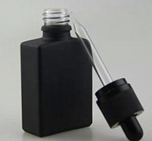 30ml heißeste schwarze rechteckige Milchglas-Tropfflaschen, rechteckige quadratische Flaschen mattschwarzes, klares Gold, kindersicherer Originalitätsverschluss