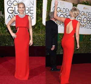 The 73rd Golden Globe Awards Alfombra roja Jennifer Lawrence Vestido de celebridades Cuello alto Elegante Rojo Hueco Longitud del piso Vestidos de noche