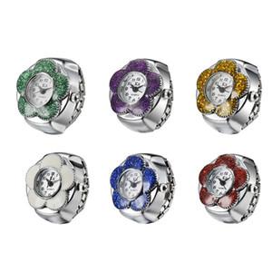 Art und Weiseausdehnungsuhr Metallfinger-Ring-Uhr Tropfen des Öls 925 versilbern überzogene Uhrblumenringuhren Frauen Quarz-Ring-Uhr