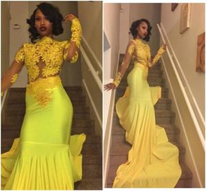 긴 소매 아프리카 소녀 인어 공 회색 의상 드레스 저녁 파티 드레스 레이스 꽃 노랑 무도회 졸업 가운 골드 선발 드레스 환상