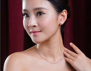 en gros mode coréenne 925 collier en argent sterling pour les femmes chaîne de vague d'eau bijoux 10 pièce / lot taille 400 mm et 450 mm largeur 1,5 mm