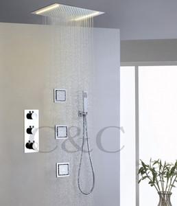 온도 조절 제어 욕실 Rainfall 샤워 꼭지 교류 LED 노란색 램프 Rainfall Shower Head 007-50X36E-3MF