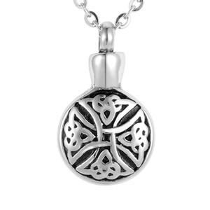 Лилия нержавеющей SteelSilver крест круглый Chram кремация ювелирные изделия пепел кулон памятный урны ожерелье с подарочная сумка и цепи