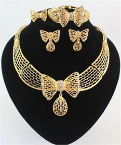 Alta Qualidade Banhado A Ouro 18 K Banhado A Cristal Borboleta Africano Jóias Colar Pulseira Anel Brinco Conjuntos de Jóias de Casamento Nupcial