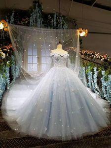 2018 queda do inverno jardim da neve V neck vestido de Baile fora do ombro vestidos de casamento ocidental mãos feitas flores vestidos de casamento de noiva