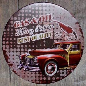 Gaz Yağı Dolum Istasyonu En İyi Kalite Yuvarlak Retro Kabartmalı Tabela Poster Duvar Bar Restoran Garaj Pub Kahve Ev Dekor Noel Hediyesi