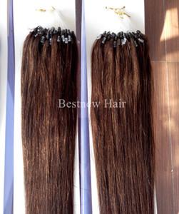 """100G / пакет 16 """"18"""" 20 """"22"""" 24 """"26"""" Remy Micro Ring / Loop 100% ИНДИЙСКИЙ человеческих волос Цвет # 4 Темно-коричневый"""