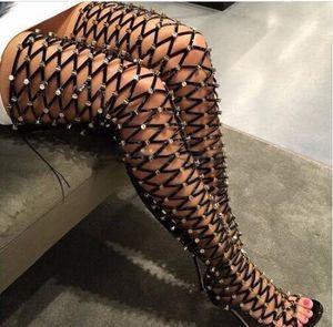 Сексуальная вырезать бедра высокие сапоги горный хрусталь шипованных женщин лето Гладиатор сандалии сапоги высокий каблук над коленом длинные botas