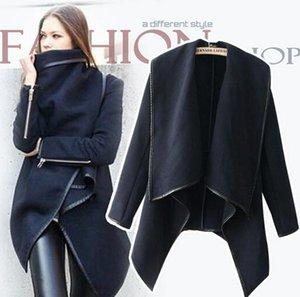 Sıcak satış 2015 Yeni Stil Kadın Moda Coat Uzun Fermuar Yaka Boyun Yün Palto Cepler Düzensiz Yaka Kış Casual Coats Artı Boyutu Mavi