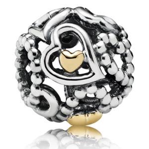 Encantos Fit Pulseira Pandora prata esterlina 925 a céu aberto Coração real 14K encanto do grânulo do ouro De Plata Micanga solto Bead 1: 1 não banhado