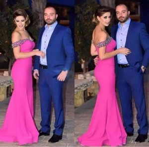 Modest Hot Pink Mermaid Long Evening Dresses Beads Crystal Party Gowns Off The Shoulder Formal Prom Dress Custom Made