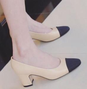 распродажа! b092 черный / бежевый 34/40 натуральная кожа матч med блок каблуки c дизайнер насосы обувь работа роскошный классический винтаж