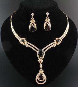 Hot Garnet Topaz Gelbgold Halskette Mode Braut-Kristallhochzeits-Halskette Ohrringe Hochzeit Schmuck-Set