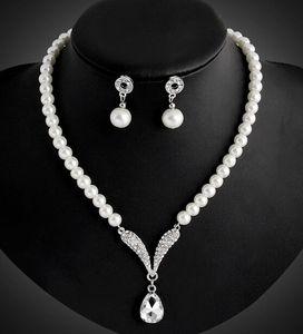Conjuntos de joyas de perlas del Corán Accesorios nupciales de la boda Pendientes y collar Joyería de moda nupcial Conjuntos de joyas de cristal