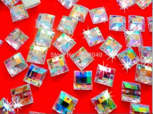 Gros-Livraison gratuite carré forme 200 pcs clair AB couleur 10 * 10mm coudre sur Acryl cristal strass accessoire pierres précieuses perles en vrac