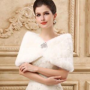 Princesa de piel sintética nupcial Shrug Wrap cabo robó chal Bolero chaqueta de cristal para el invierno boda novia vestidos de dama de honor imagen real 2019
