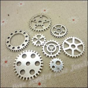 charme mixte argent antique pendentifs en alliage plaqué Gear collier bracelet bijoux en forme de bricolage 96 pcs / lot