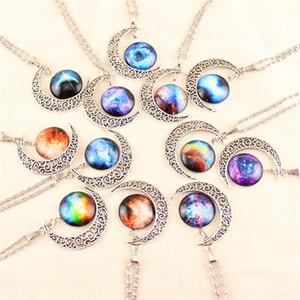 12 Colors Gem Necklaces Vintage moon necklace Starry Outer space Universe Gemstone pendants necklaces Chain jewelry Children Accessories