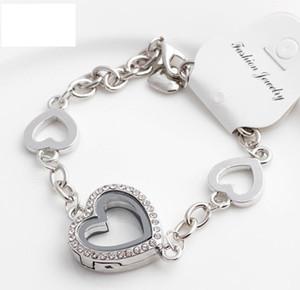 10 unids Silver Rose Gold Crystal Heart Living Memoria Locket Pulsera para encanto flotante con un gran corazón rhinestone +2 corazones pequeños