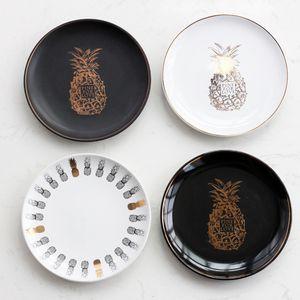 Vergolden Ananas Dinner Plates Multifunktions Keramik Zuckerlagertablett Geschirr für Hochzeitsfest-Dekorationen 13qj C RZ