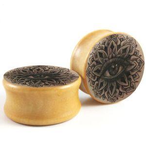 Mandala Olho Logotipo Ear Expander Mix 6-16mm Duplo Flared Madeira Ear Plug Gauge Maca Brinco Sela Jóia Do Corpo Piercing