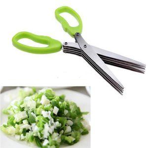 Couteaux de cuisine multi-fonctionnels en acier inoxydable Ciseaux à 5 couches Ciseaux à herbes coupés en lambeaux Ciseaux à épices