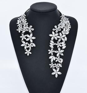 Luxus Big Kette für Frauen Mode Neuheit Schmuck mit Blumen-Kristall und Gem Maxi Statement Choker 1 PC-Stulpe Kragenchoker