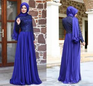 2016 Royal Blue árabe Dubai vestido de noche de encaje largo musulmán de encaje remató vestidos de noche formales Abaya Kaftan gasa vestidos de fiesta