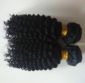 7A İşlenmemiş Brezilyalı Perulu Malezyalı Dokuma Curly 8-30inch Afro Kinky Kıvırcık Bakire İnsan Saç Dokuma Doğal Siyah atkı