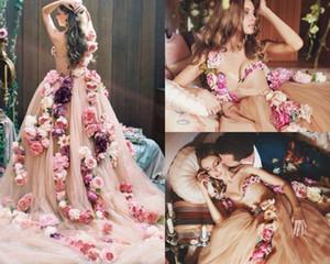 Une épaule fée pays robes de mariée de luxe à la main fleur Champagne robe de mariage plage balayage train coloré robes de mariée Camo
