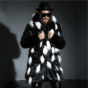 Wholesale- New winter fashion men  fur coat Faux fur slim fit leather jacket,Casual hooded splice long overcoat section Plus size S~4XL