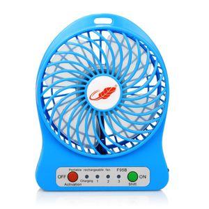 USB portable rechargeable ventilateur 3 vitesses Vitesse bureau Mini Air Cooling Fan de bureau avec 18650 Voyant de la batterie et LED pour Trave Camping