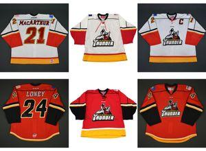 Новый ECHL Adirondack Thunder 21 MacArthur 24 Ty Loney Mens Womens Kids 100% вышивка Custom Лучшее качество Дешевые хоккейные Jerseys Goalit Cut