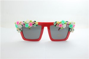 Drop free shipping NEW quality summer square shape red frame multi-color rose flower clay flower UV400 plastic sunglasses