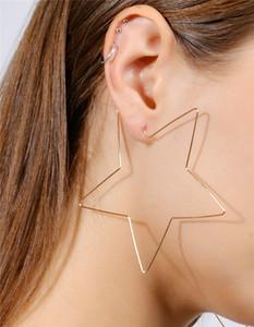 Grande Taille Cerceau Pentagram Boucles D'oreilles Or Argent Mode Simple Star Femmes Bijoux Huggie Street Style Essential DC66