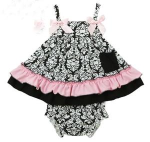 Verano Baby Set Girls Flower Ruffles Tops de tanques + PP Pantalones cortos de PP 2 unids Trajes para niños Sabos para bebés Niños Sabos de bebé Deporte de algodón Ropa infantil 10599