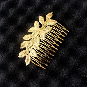 Recién llegado de Desig Gold Leaf Bridal Hair Combs Clip accesorios para mujeres niñas Wedding Bijoux pelo joyería venta al por mayor 12 piezas