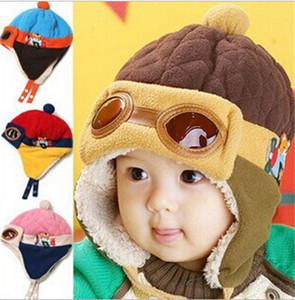 80pcs HOT Baby 4 colors Kids Earmuffs Pilot Cap Hot Warm Aviator Earflap Hat for Winter warm hat for baby D455
