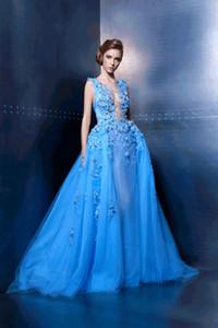 Elie Saab Prom Dresses 2018 recién llegado Sheer Neck Illusion 3D apliques florales una línea de tul piso de longitud vestidos de novia por encargo