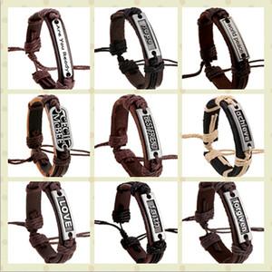 Armband-Mannfrau LOVE des echten Leders des echten Mannes 100% glaubt glauben vergebenen hoffnungs-Seil des Gurtes justierbares Armband 50pcs / lot