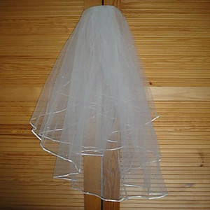 Nuevo diseño Nuevo 1T Marfil Ribbon Edge Bridal Wedding Veil Comb Rhinestone Frontlet Tiaras Set Wedding A venta caliente barata de alta calidad al por mayor