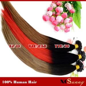 XCSUNNY Ombre U 팁 헤어 익스텐션 18 20 인치 Ombre 네일 U 팁 헤어 익스텐션 100g = 100pcs Indian Human Virgin Hair Stock