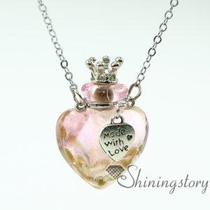 Kalp aromaterapi takı kokular yağ difüzyon kolye küçük parfüm şişesi kolye kolye difüzörler küçük cam şişeler kolye necklac