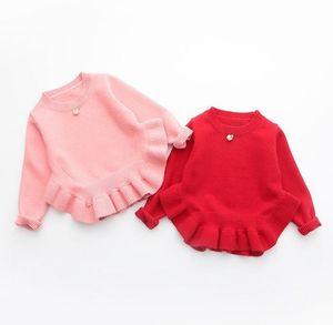 Мода девушки Pearl кулон свитер Shrits Детская одежда Весна Осень мультфильм Flouncing Pullower Дети Sewaters K5974