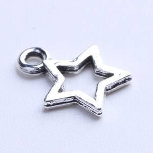 DIY plata / cobre retro Five-pointed Star Charms Colgante Fabricación joyería pendiente collar o pulseras encanto 2500pcs / lot 1012x