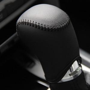 Caso da tampa da engrenagem para SKODA OCTAVIA 2014 cobertura de mudança de engrenagem automática mão de costura estilo do carro de couro genuíno tampa da engrenagem tampa do carro diy
